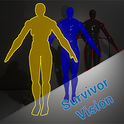 Survivor vision is an incredibly versatile and adjustable effect used to reveal more information, secrets and items to the player. It has many different applications and is incredibly easy to set up, customize and plug in to your project.
