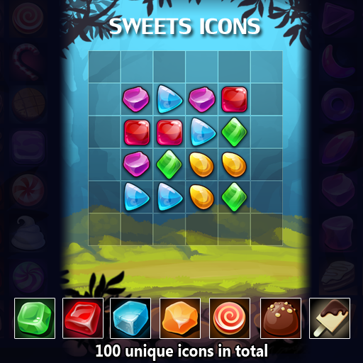 A set of 100 hand drawn sweets icons.