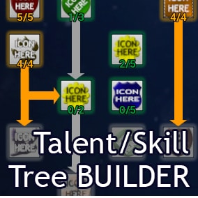 A Blueprint based Talent/Skill Tree system. Can modify character attributes, unlock items by name, unlock group of items by type. Contains 4 presets: Classic vertical tree, Weapon (Artifact-like) Talents, Talent Switcher, Horizontal tree, item samples.