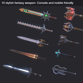 This pack including 5 Sword and 5 Mace that come with Hiqh Quality PBR and Unlit Material.