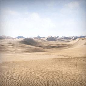 The Dunes is a 4x4 Kilometers landscape, taking you right into the middle of a burning desert!