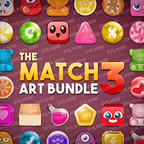 The Match 3 Art Bundle is a complete 2D sprites pack using diverse art styles. 115 unique icons in 3 different resolutions!