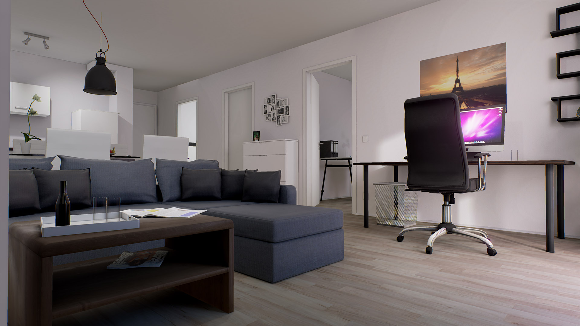 Threedee modern flat interior by threedee gmbh in for Modern flat interior