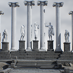 4 HQ ancient, full body, Greek statues with damage variations 