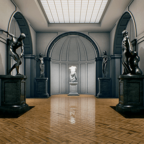 6 high quality statues with modular interior for architectural visualizations and games. Can be used on ARCHVIZ, interior, exterior, decorations. Contains antiquity statues with academical poses, columns, walls, domes.