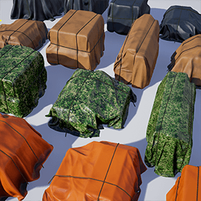 4 high quality covered crates with black, military, orange and gray materials for architectural visualizations and games. Can be used on interior, exterior, decorations. Contains tarp wrapped, box shaped containers, held with rope.