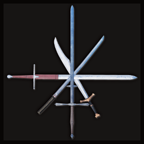 An assortment of twelve swords from various cultures and eras.