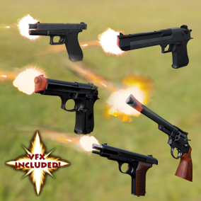 AAA quality Pistol 5-pack weapons with VFX, 4K textures, 3 LODs, & fully animated / rigged arms. $150 Value!