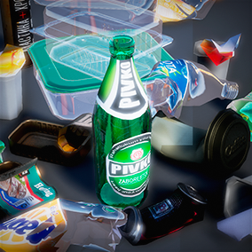 Bottles and small garbage.