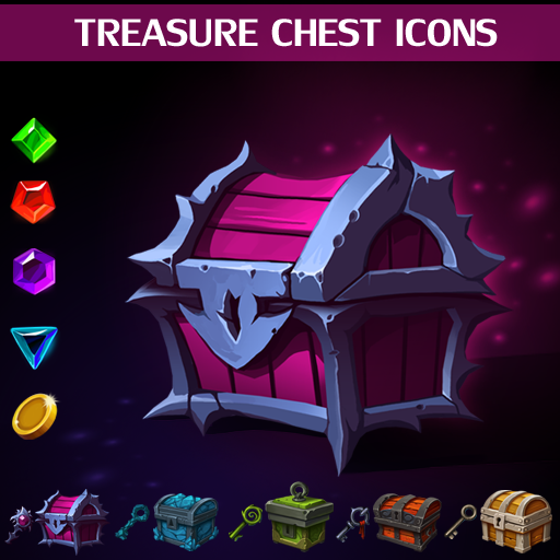 Set of 5 treasure chest icons, 5 keys icons, 4 gems icons and 1 coin icon.