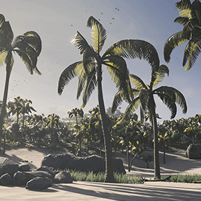 A Tropical Island scene with cliffs, beaches and tropical forest.