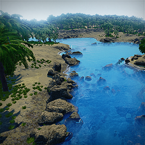 Procedural dynamic Automatic Landscape Material Tropical Islands.