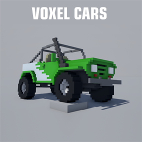 5 hi quality voxel stylized car models with dynamic color customization.
