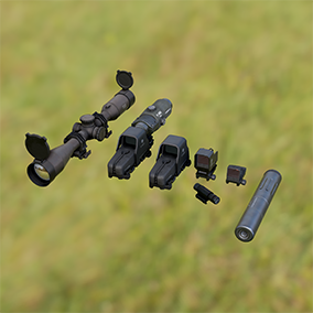 Scope, barrel, and sight attachments, compatible with all weapon packs! 7 attachments in all!