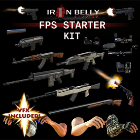 FPS Starter kit w/ VFX, 9 weapons, FP Arms, Attachments, and Bullets with 4K textures. Save 60%!
