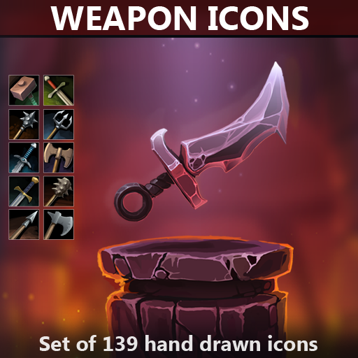 A set of 139 hand drawn weapons icons.