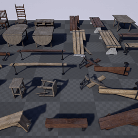 Worn Furniture Pack 1 consists of 20 unique (28 with variants) high quality props of worn wooden benches, tables, stools and chairs.