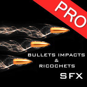 The Bullets impacts and ricochets sound effects pack features 26 high quality sounds for your weapons and guns. Bullet fly bys also included