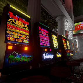 Props for creating a casino room scene.