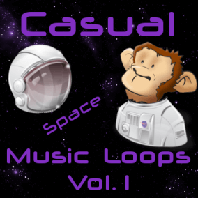 "Casual Music Loops Vol. 1 (Space) contains 24 high quality casual space music loops (6 main tracks, plus 18 versions of them, including ""No Drums"" version)."