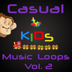 "Casual Music Loops Vol. 2 (Kids) contains 24 high quality casual music loops (6 main tracks, plus 18 versions of them, including ""No Drums"", electronic or orchestral). Suitable for any video game related to kids, joy, fun, cartoon, puzzle or educational."