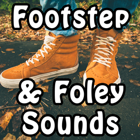 Footstep & Foley Sounds contains 511 high quality professionally recorded footstep sounds. Surfaces included: concrete, dirt, grass, gravel, metal, mud, water, wood, ice and snow.