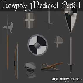 The Lowpoly Medieval pack 1, contain a variety of medieval weapons.