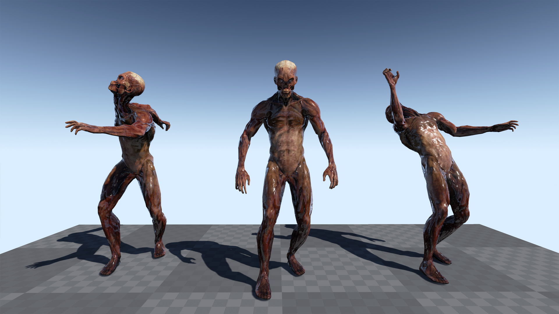 Zombie1 Model+Animation by T-Pose in Animations - UE4