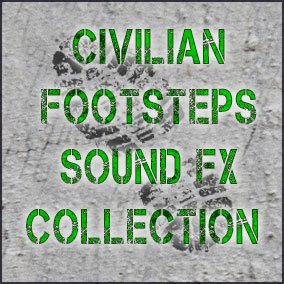 Collection includes civilian footstep sounds on different surfaces: footsteps on concrete (asphalt or stone), wood, water, metal, ground, grass, gravel, snow.