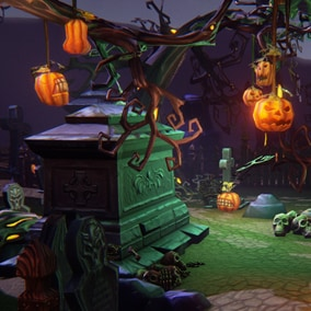 Get started on your next game in no time with this low poly, hand painted cemetery Halloween 3D package.
