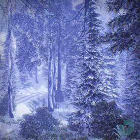Low Poly Snow Forest Pack containing 52 snowy trees, bushes, props and a modular log cabin.