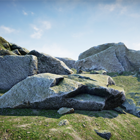 6 versatile high quality rocks plus 1 ground material and textures for UE4