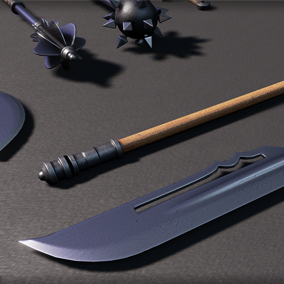 12 Medieval Weapons, includes swords, maces, axes, spears and bows.