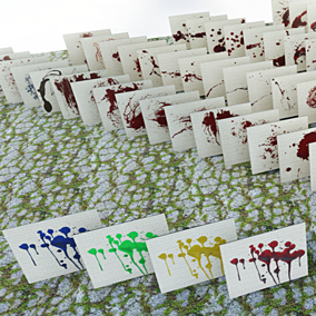 A collection of 100 splatter decals which can be used as blood or paint.