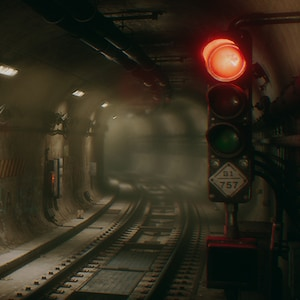 New York style underground subway tunnel.
