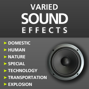 260 High Quality Sound Effects, including themes: House - Domestic / Human - People - Voices / Nature - forest / Places - Background - Ambience / Special - unnatural - creepy / Technology - Interface - Mech / Transportation - vehicles / War - Explosions