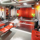 This sci-fi themed hallway demonstrates the combined magic of Quixel Suite and UE4.