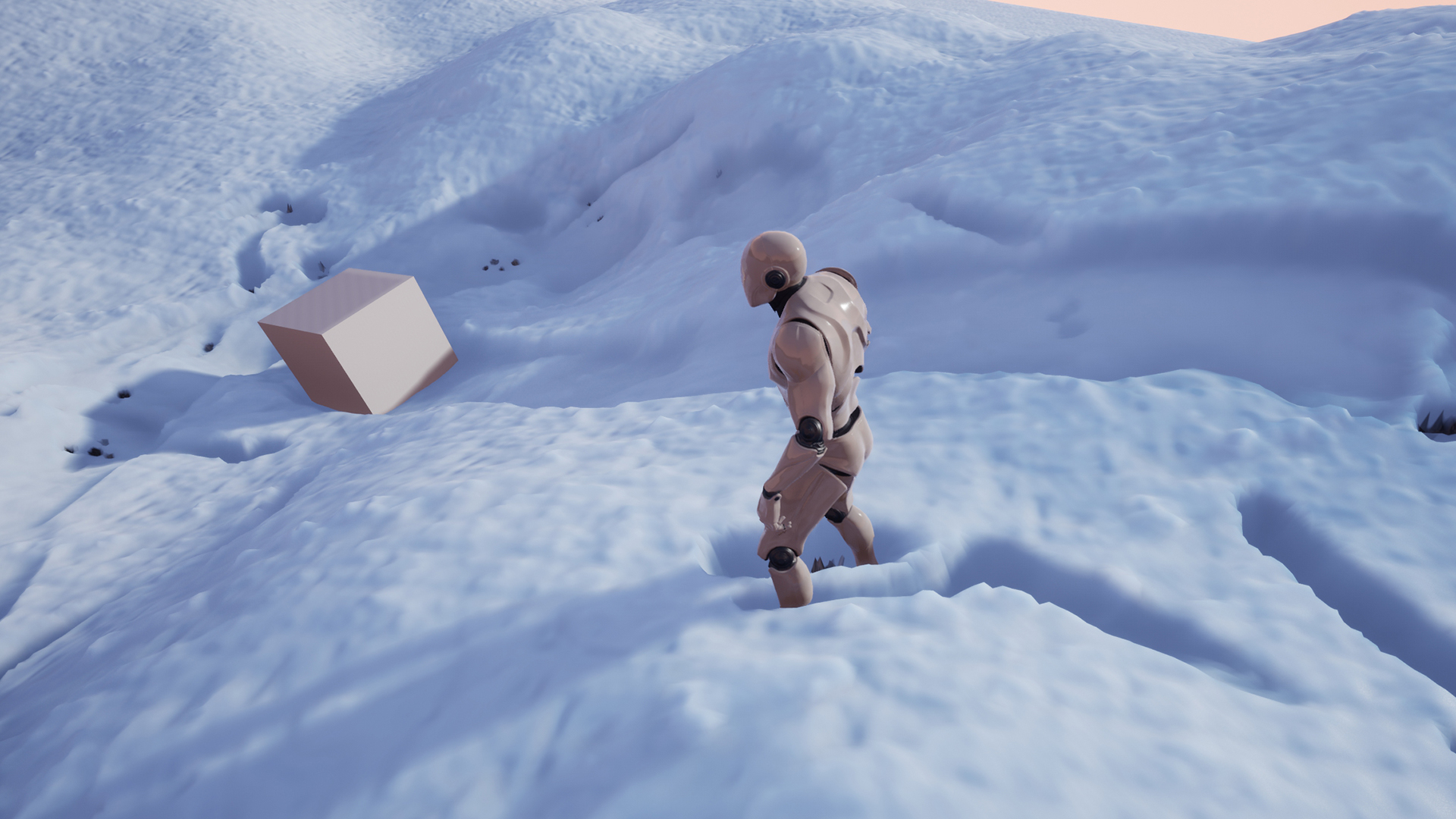 Unreal Engine] Surface Trails (with Snow Deformation example
