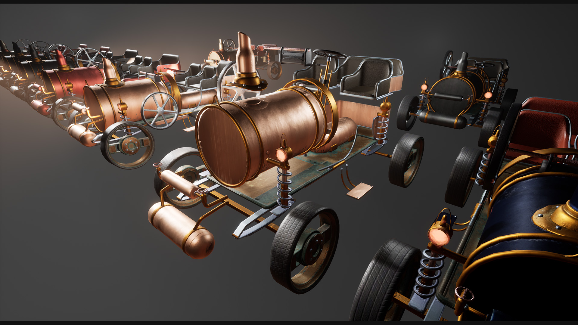Driveable Steampunk Car Vehicle Rigged Customizable In Props Ue Marketplace