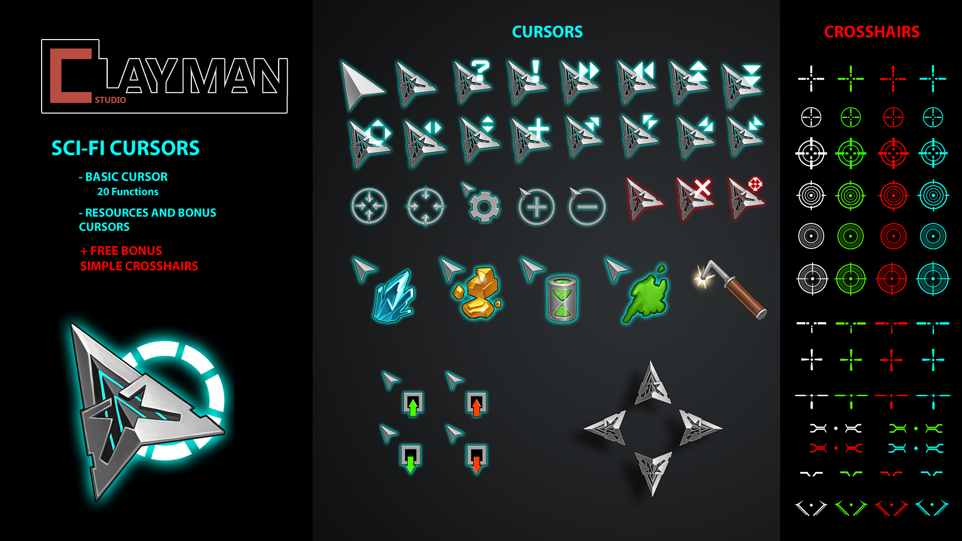 Sci-fi Cursors by ClayMan in 2D Assets - UE4 Marketplace
