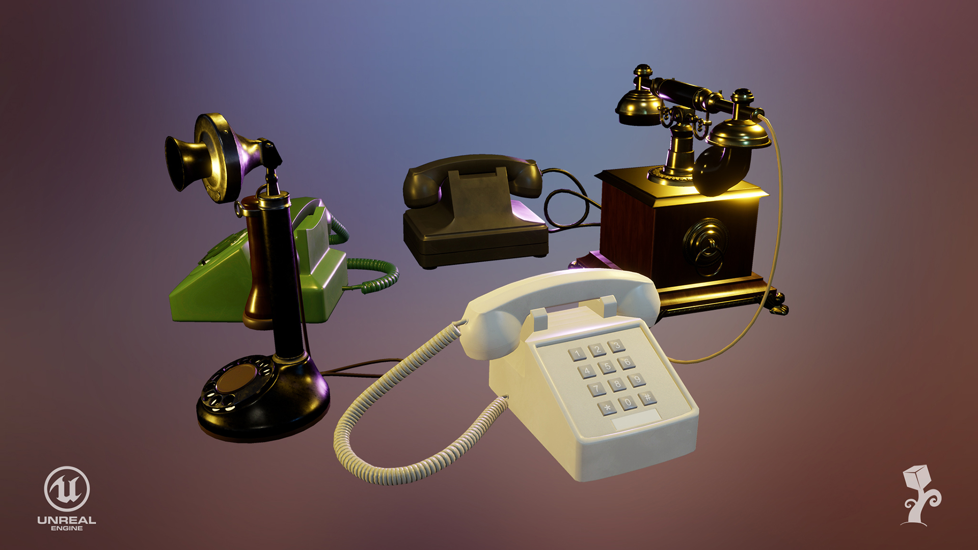 Old Telephone Pack by Victor Buchinski in Props - UE4
