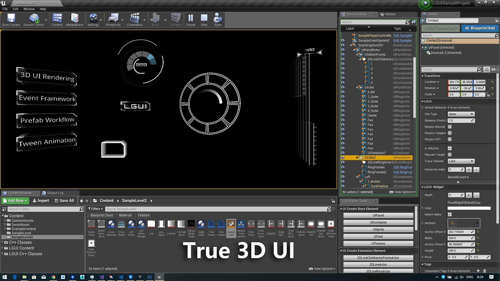 在Code Plugins中由liufei创建的LGUI (Lex GUI) - 3D UI System