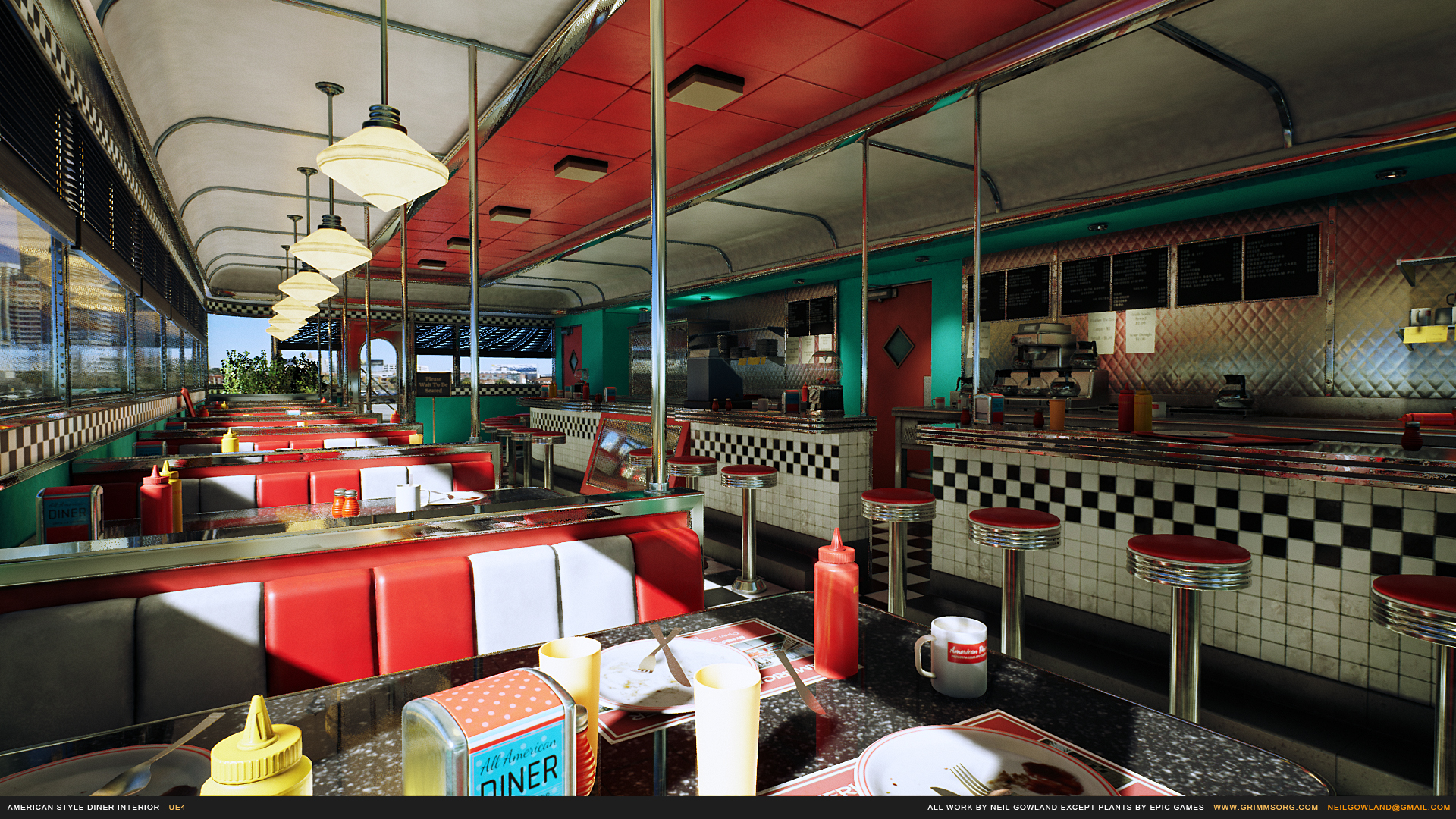american style diner by grimmsorg studios in environments ue4 marketplace. Black Bedroom Furniture Sets. Home Design Ideas