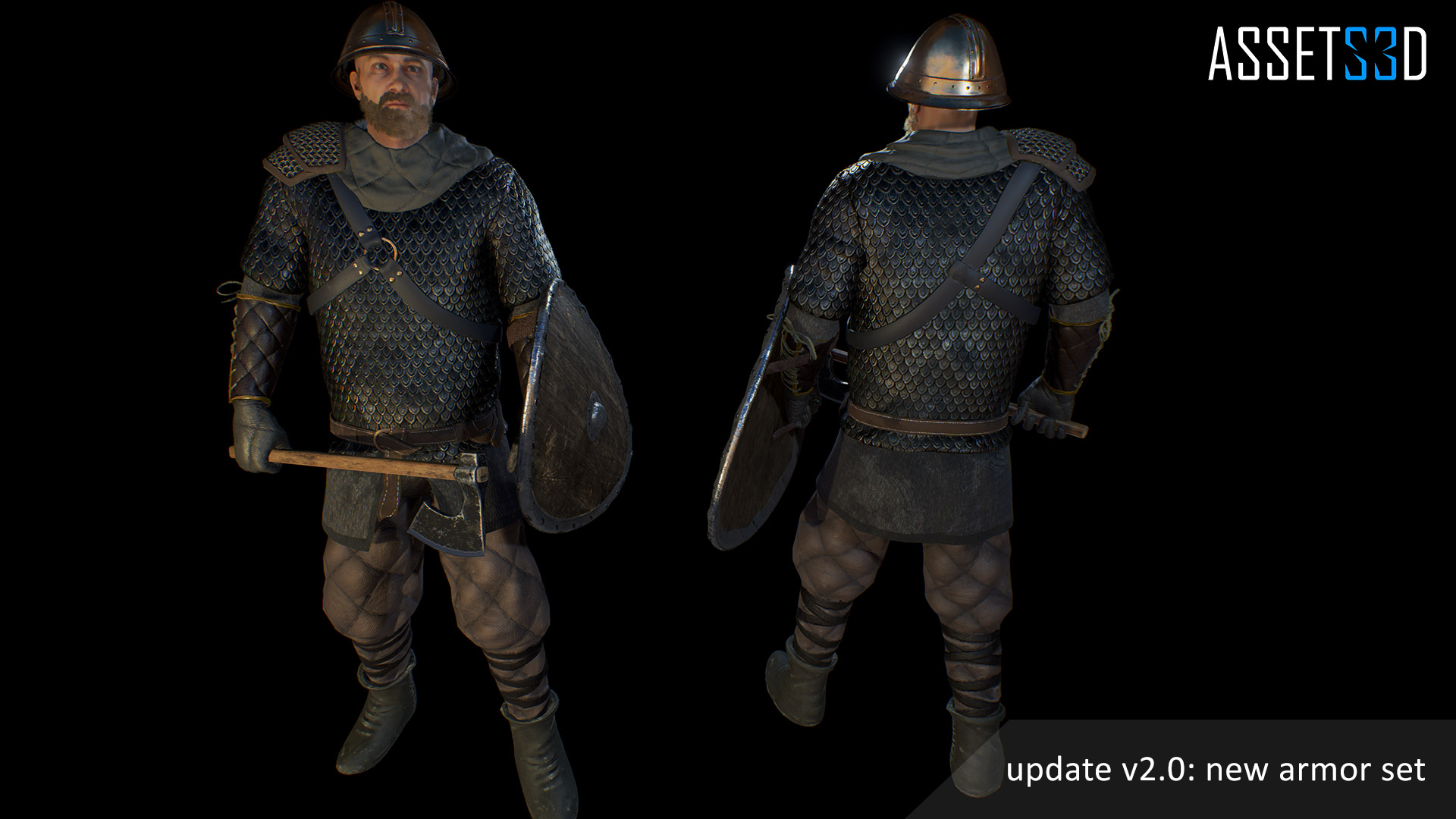 Modular Medieval Warrior 01 by Assets3D in Characters - UE4