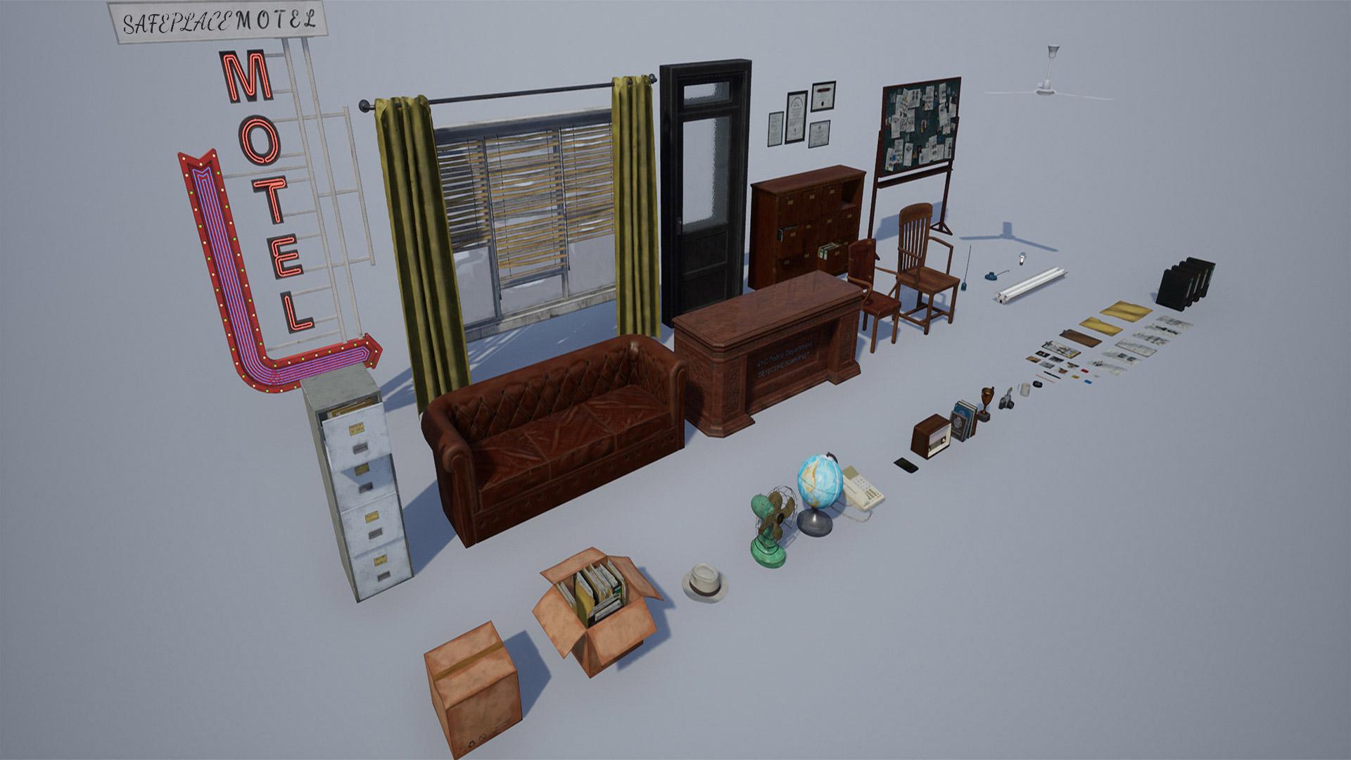 Prop2 1920x1080 3fba64e0f6382b2245612b0e86dcc02e - Detective Office V1 - 虚幻引擎侦探办公室模型