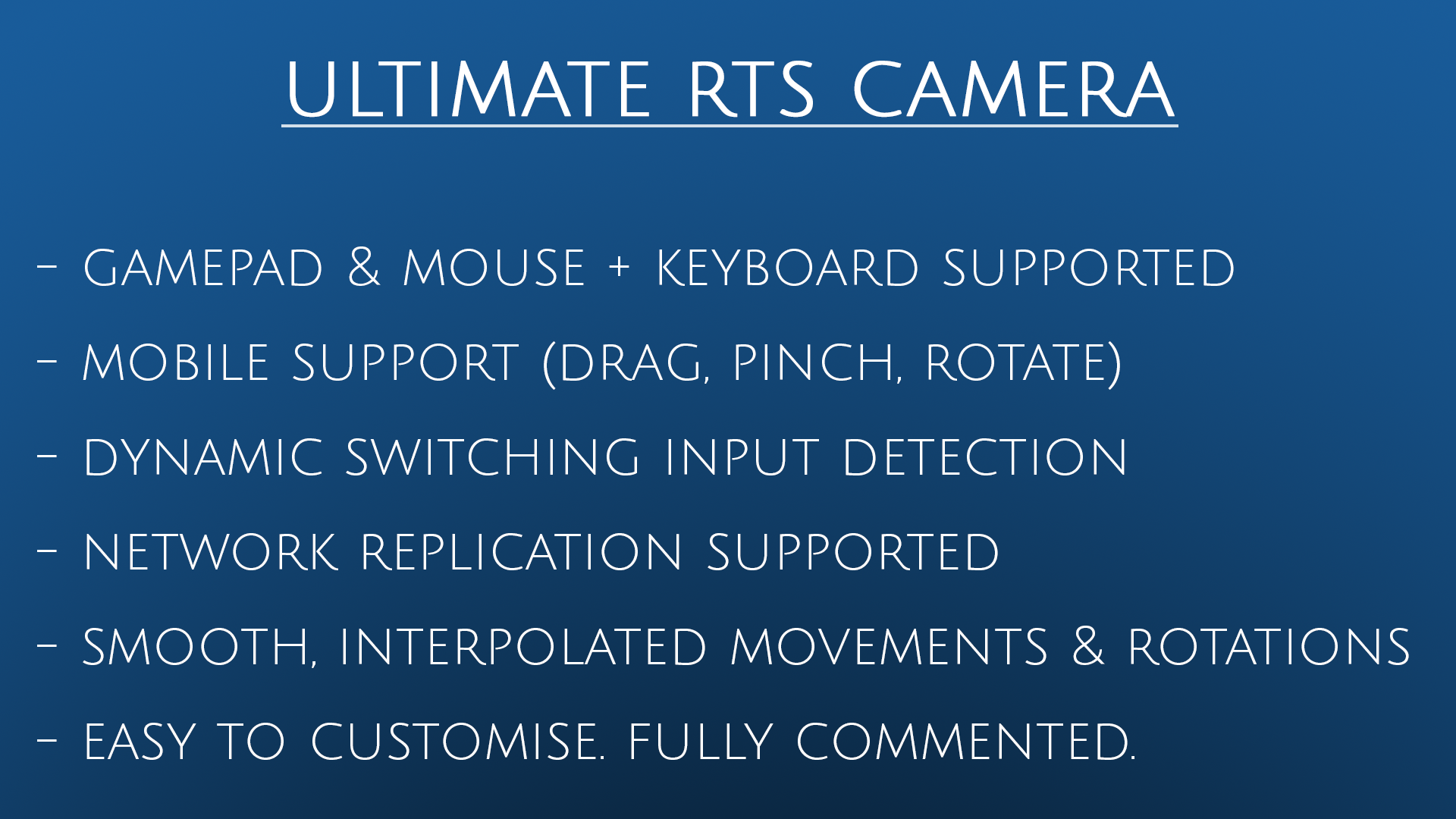 Ultimate RTS Camera by Aperture9 in Blueprints - UE4 Marketplace