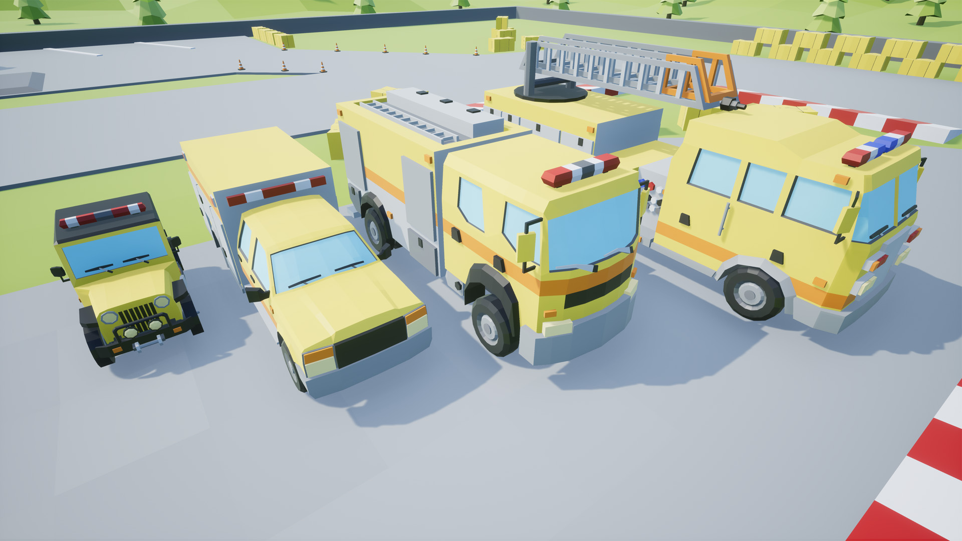 Low Poly Vehicles Firefighter Pack 8 by SuburbiaGames in