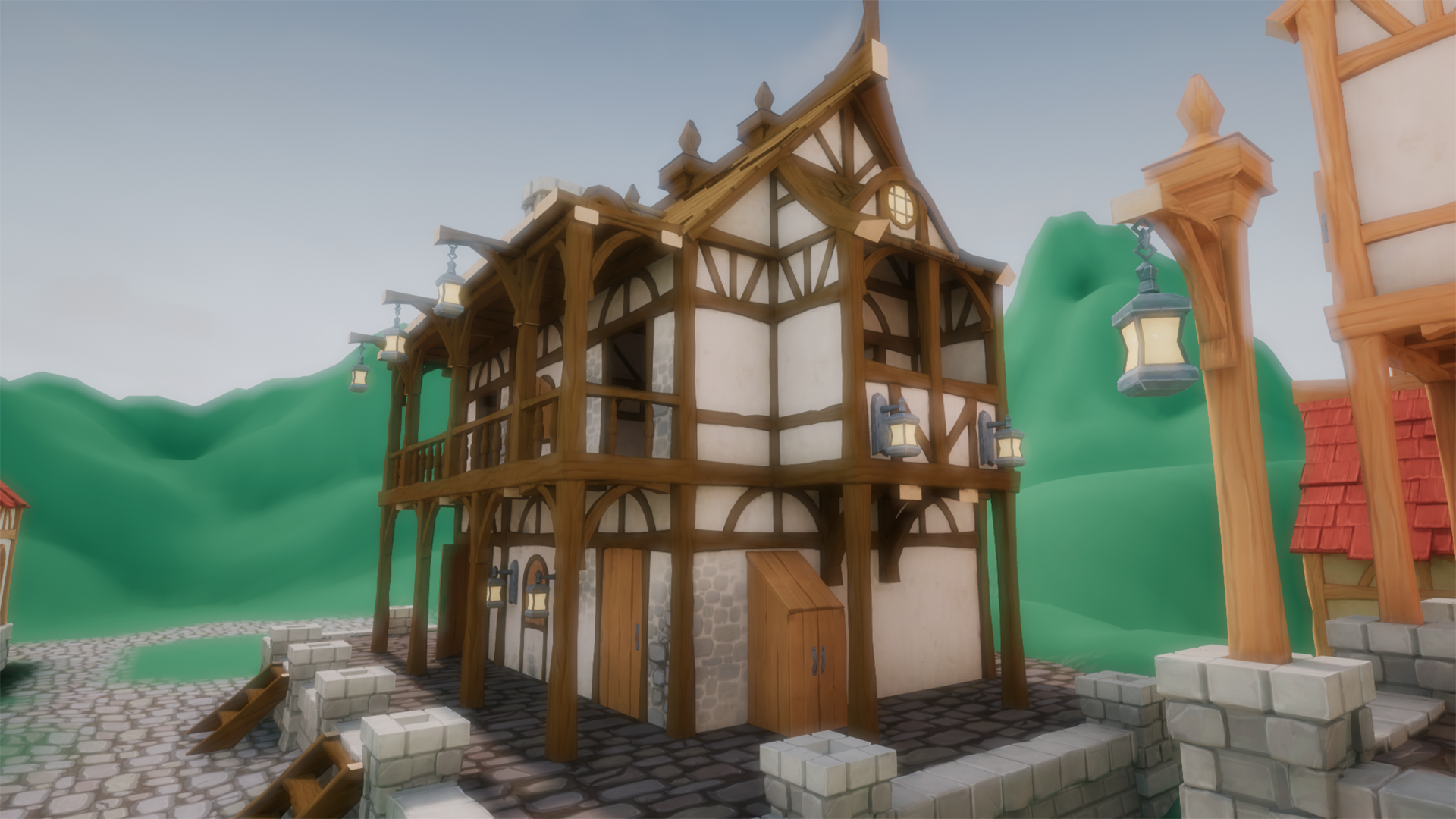 Stylized Modular Medieval Town by Auriam in Environments