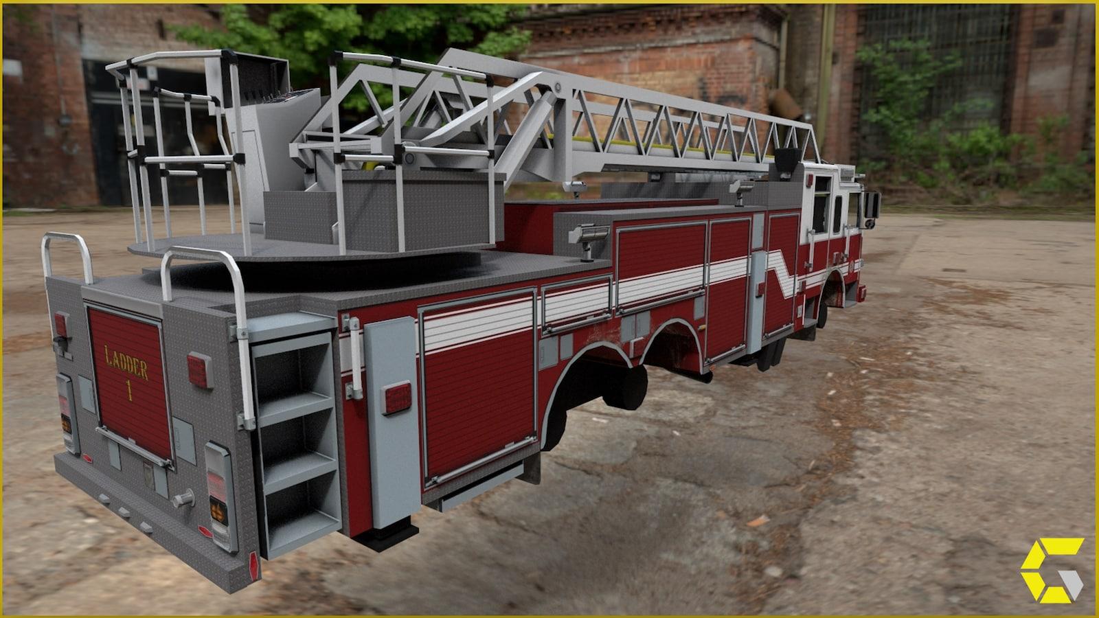 Fire Truck Ladder Driveable In Blueprints Ue Marketplace
