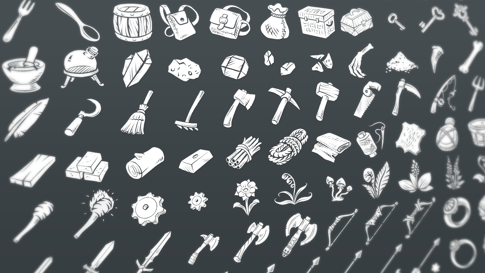 Fantasy RPG Flat Inventory Icons by Leonid Deburger in 2D